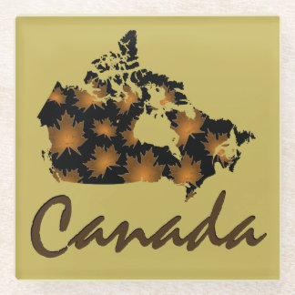 Unique fun Canadian Maple glass  drink coaster