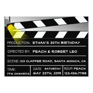 """Unique Fun Clapper Board Birthday Party Invites 5"""" X 7"""" Invitation Card"""