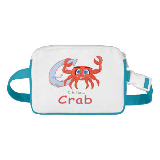 Unique funny and smiling Crab cartoon Waist Bag