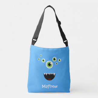 Unique Funny Crazy Cute Blue Monster Crossbody Bag