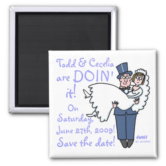 Unique Funny Groom Carries Bride Save The Date 2 Inch Square Magnet