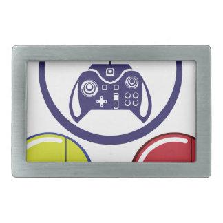 Unique Game Controller Icon Vector Art Rectangular Belt Buckle