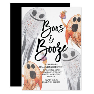 Unique Ghost Boos & Booze Halloween Party Card