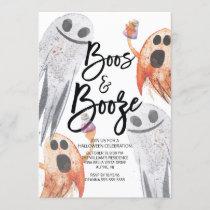 Unique Ghost Boos & Booze Halloween Party Invitation