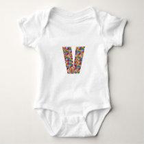Unique gifts for friends name with alpha V V VVV Baby Bodysuit