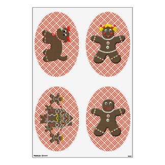 Unique Gingerbread Family Christmas Wall Decals