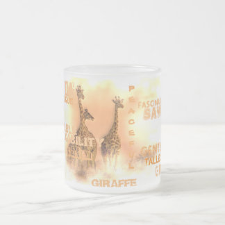 Unique Giraffes Frosted Glass Mug