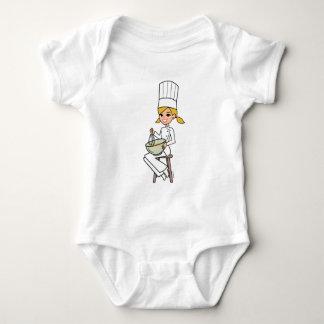 Unique Girl Chef Illustration Baby Bodysuit