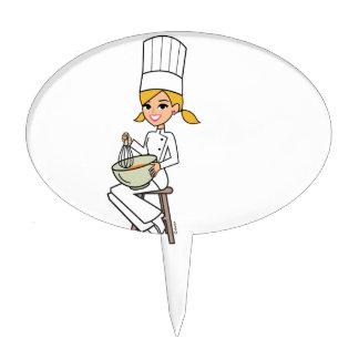 Unique Girl Chef Illustration Cake Topper