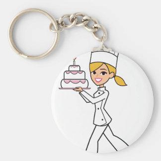 Unique Girl Chef Illustration Basic Round Button Keychain