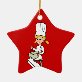 Unique Girl Chef Illustration Double-Sided Star Ceramic Christmas Ornament