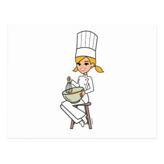 Unique Girl Chef Illustration Postcard