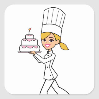 Unique Girl Chef Illustration Square Sticker