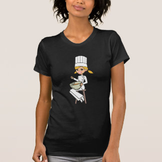 Unique Girl Chef Illustration Tee Shirt
