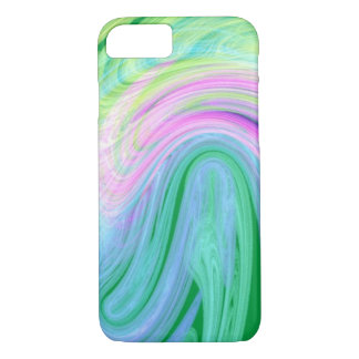 unique girly mint pink lines ombre iPhone 7 case