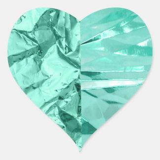Unique Glitter Sparkle Mint Green Crinkle Design Heart Sticker