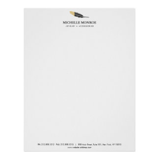 Unique Gold Dipped Feather Jewelry, Boutique Gray Letterhead