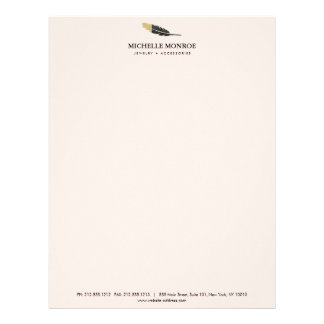 Unique Gold Dipped Feather Jewelry, Boutique Pink Letterhead