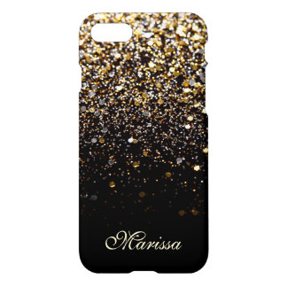 Unique Gold Glitter Black Stylish Modern iPhone 8/7 Case