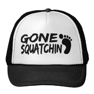 Unique GONE SQUATCHIN logo with FOOTPRINT Trucker Hat
