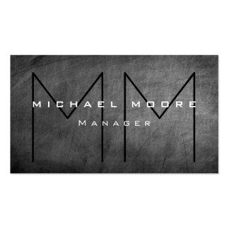Unique Gray Chalkboard Chic Monogram Business Card