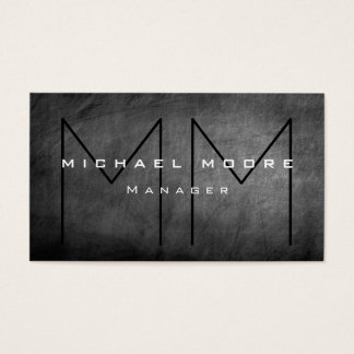 Unique Gray Chalkboard Monogram Business Card