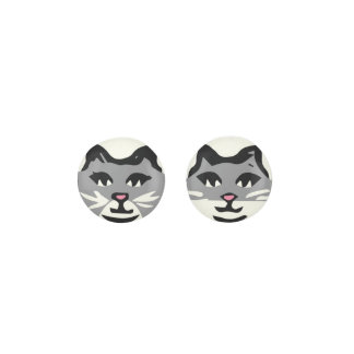 UNIQUE GRAY & WHITE CATS EARRINGS