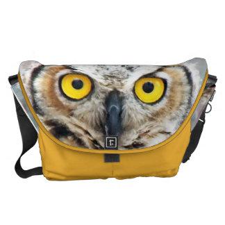 Unique Great Horned Owl Eyese Photo Design Courier Bag