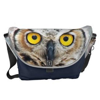 Unique Great Horned Owl Eyese Photo Design Messenger Bag