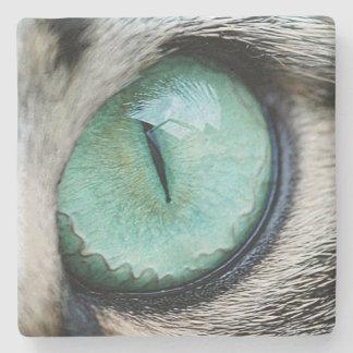 Unique Green cat's eye close up Stone Coaster