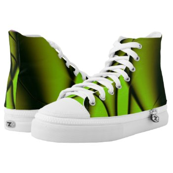 Unique Green Fractal Design High-Top Sneakers