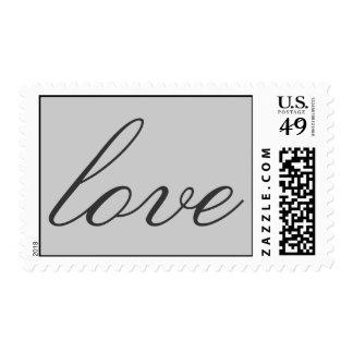 Unique Grey Calligraphic Love Wedding Postage