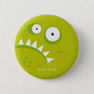 Unique Grumpy Angry Funny Scary Green Monster Button