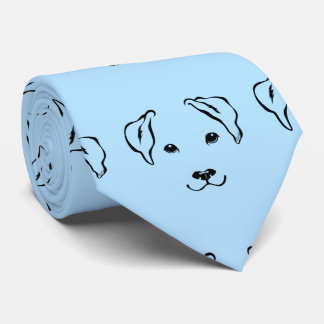 Unique Hand Drawn 5 Lines Dog Pattern Sky Blue Tie
