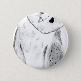 Unique Hand Drawn Barn Owl Pinback Button