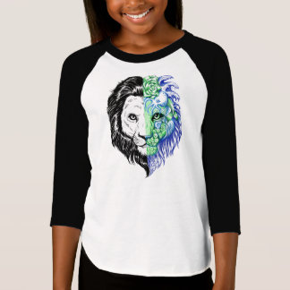 Unique Hand Drawn Mystic Lion Girl's Baseball Tee