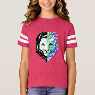 Unique Hand Drawn Mystic Lion Girl's Football Tee