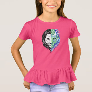 Unique Hand Drawn Mystic Lion Girl's Ruffle Tee