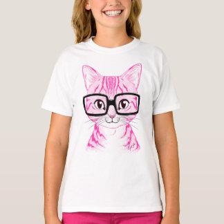 Unique Hand Drawn Nerdy Cat Art Girl's T-shirt