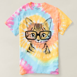 Unique Hand Drawn Nerdy Cat Art Tie Dye T-shirt