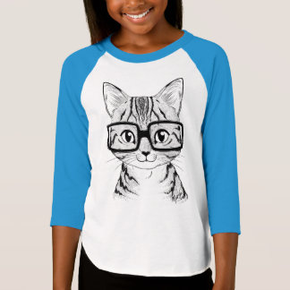 Unique Hand Drawn Nerdy Cat Girl's Baseball Tee