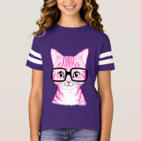 Unique Hand Drawn Nerdy Cat Girl's Football Tee