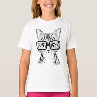 Unique Hand Drawn Nerdy Cat Girl's White T-shirt