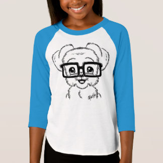 Unique Hand Drawn Nerdy Dog Girl's Baseball Tee
