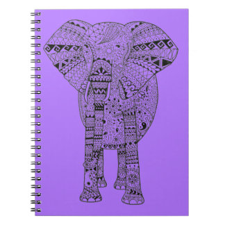 Unique Hand Illustrated Artsy Elephant Spiral Notebooks