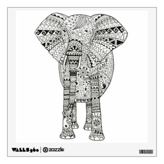 Unique Hand Illustrated Artsy Elephant Wall Sticker