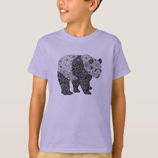 Unique Hand Illustrated Artsy Floral Panda Bear T-Shirt