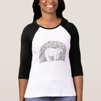 Unique Hand Illustrated Artsy Floral Polar Bear T-Shirt