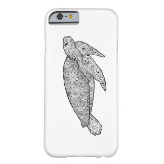 Unique Hand Illustrated Artsy Floral Sea Turtle Barely There iPhone 6 Case