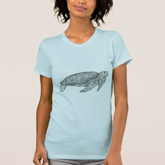Unique Hand Illustrated Artsy Floral Sea Turtle T-Shirt